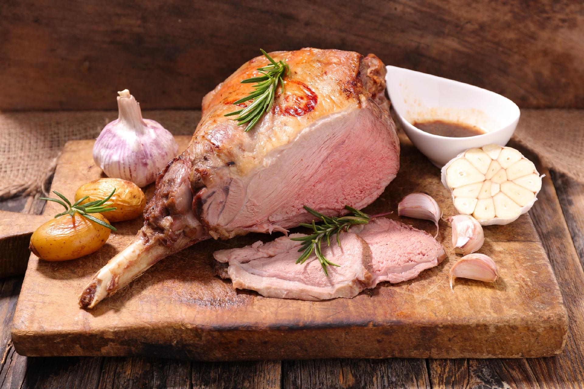 roasted lamb leg with potato,garlic and sauce